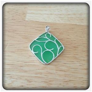 NWOT Genuine Jade & Sterling Silver Pendant